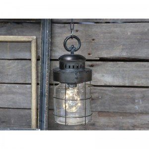 French stable Lampa antique coal